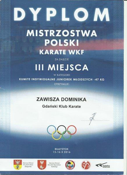 Dominika Zawisza zdobyła III miejsce w konkursie karate